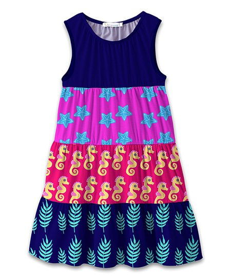 cde127144e love this product Navy & Pink Starfish & Seahorses Tiered Sleeveless Dress  - Toddler & Girls
