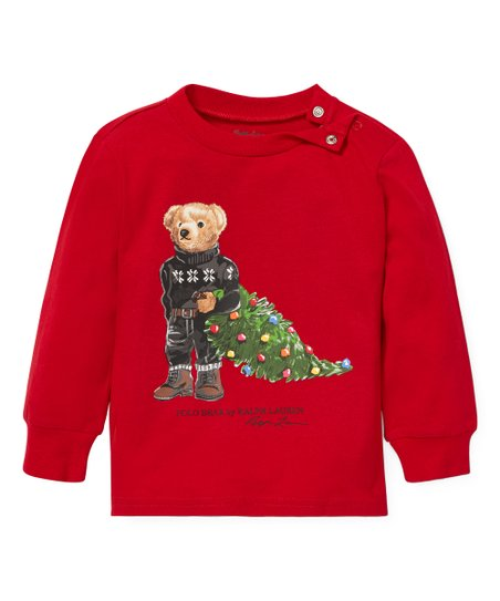 5a1ab3bff Ralph Lauren Park Avenue Red Holiday Bear Cotton Tee - Infant