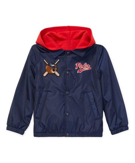 519b67ba0 Ralph Lauren French Navy Polo Bear Hooded Coach Jacket - Boys