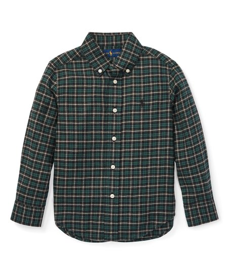 cf60ea341 Ralph Lauren Green & Gray Plaid Cotton Twill Shirt - Boys   Zulily