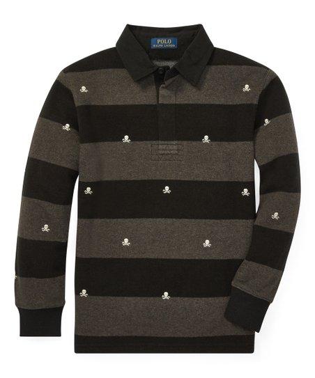 64be27293 Ralph Lauren Black Stripe Lightweight Fleece Rugby - Boys