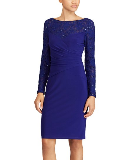 2cd78942 love this product Sapphire & Navy Sequined-Lace Bodycon Dress - Women