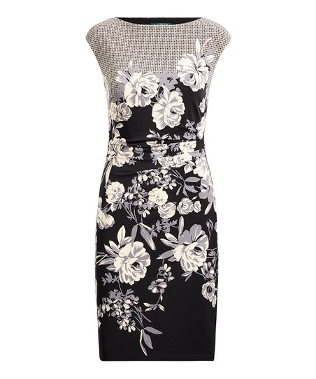 37722f56ca3 love this product Black   Gray Floral Cap-Sleeve Sheath Dress - Petite