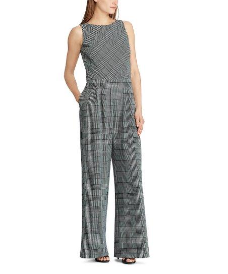 b0dee9b1472d love this product Black   White Glen Plaid Wide-Leg Jumpsuit - Women