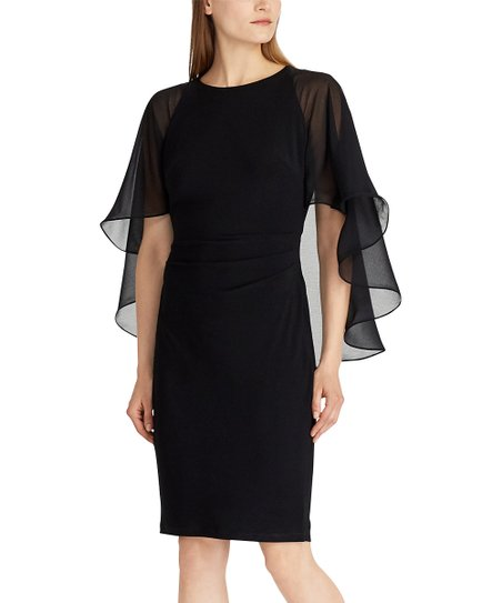 65014566ef88 Lauren Ralph Lauren Black Sheer-Cape Bodycon Dress - Women