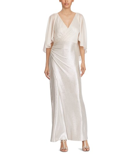 0e3fe622b8b7 love this product Champagne   Pearlescent Cape-Overlay V-Neck Gown - Women