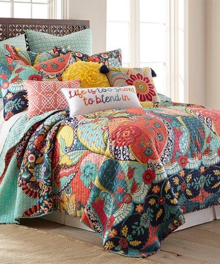 Levtex Home Red & Turquoise Floral Jules Quilt Set | Zulily on quilt pink, quilt books, quilt home, quilt halloween, quilt bedroom design, quilt room ideas, quilt kitchen, quilt storage, quilt color, quilt fabrics, quilt modern, quilt green,