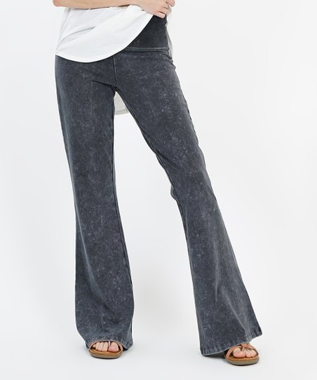 mid-gray-mineral-wash-elastic-waist-yoga-pants---women by zulily