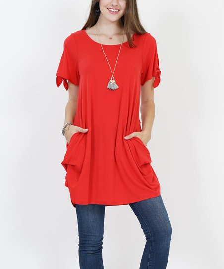 6872f719233 love this product Red Side-Pocket Tie-Sleeve Convertible Tunic - Women