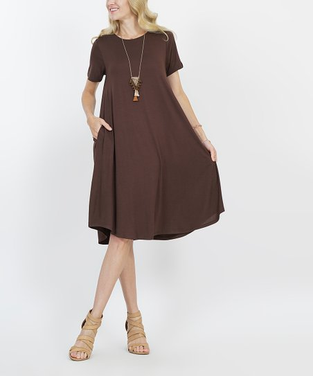 8d422fa9f574 love this product Brown Crewneck Short-Sleeve Curved-Hem Pocket Midi Dress  - Women