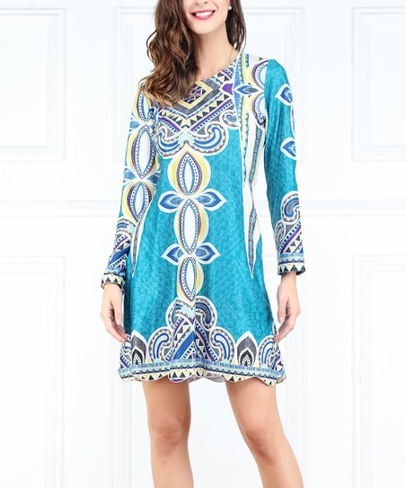 r b turquoise yellow abstract scallop hem shift dress women zulily