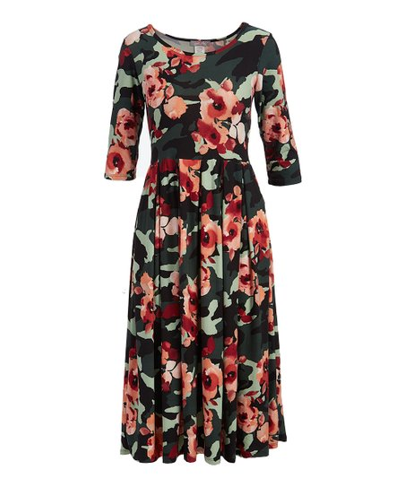 10842dd228 Pretty Young Thing Camo Floral Three-Quarter Sleeve Midi Dress ...
