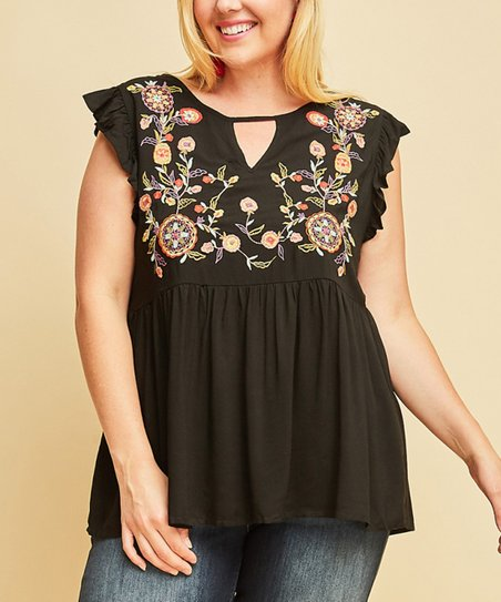 1f35bc797 Black Floral-Embroidered Flutter-Sleeve Top - Women   Plus