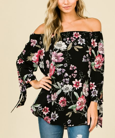 f75c95d3dbce7 love this product Black Floral Long-Sleeve Off-Shoulder Top - Plus