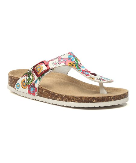 518336f22326 love this product White   Pink Floral T-Strap Sandal - Women