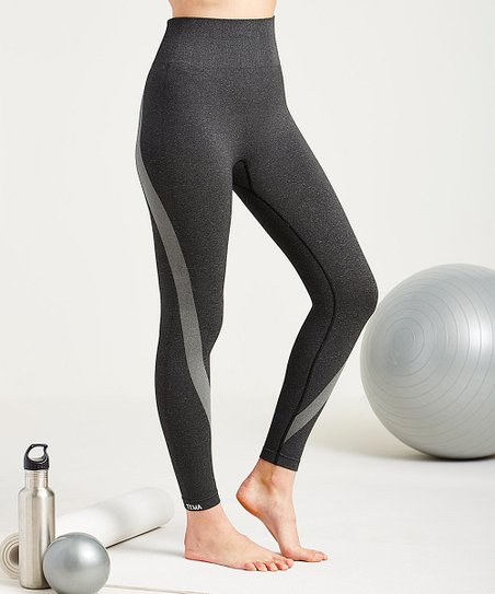 a69f7cb331c Heather Black Tuxedo Tummy-Control High-Waist Seamless Leggings - Plus