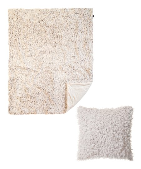 Faux Fur Pillow And Throw Set.North End Decor Off White Plush Faux Fur Pillow Throw Set