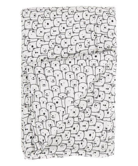 Bambino Land 47'' x 47'' White & Black Bears Swaddling Blanket