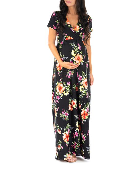 27d16947111 Mother Bee Maternity Black Floral Surplice Maternity Maxi Dress