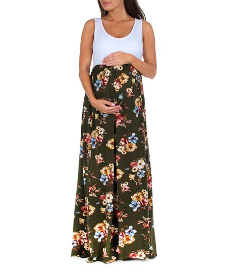 928267483acf0 Mother Bee Maternity Olive & White Floral Scoop Neck Maxi Dress | Zulily