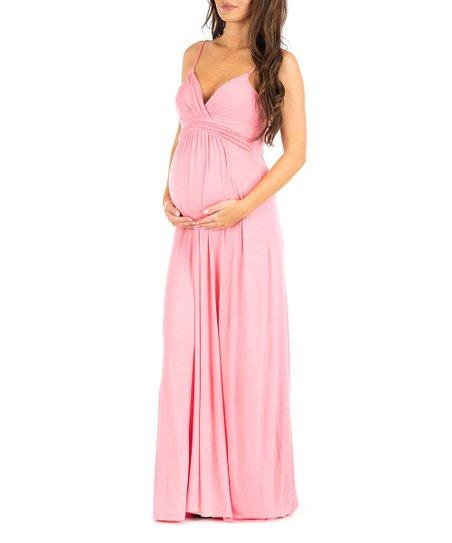 f453504b54076 Mother Bee Maternity Light Coral Surplice Maternity Maxi Dress | Zulily