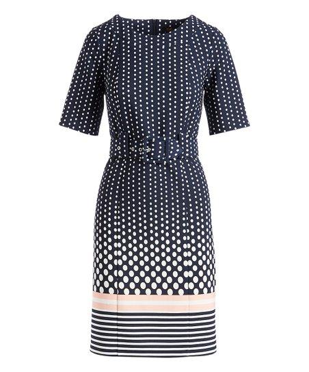 Navy Blush Dots Stripe Belt Waist A Line Dress Women Zulily