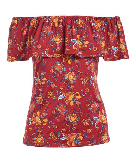 2bd69e529432c love this product Burgundy   Gold Floral Ruffle Off-Shoulder Top - Women