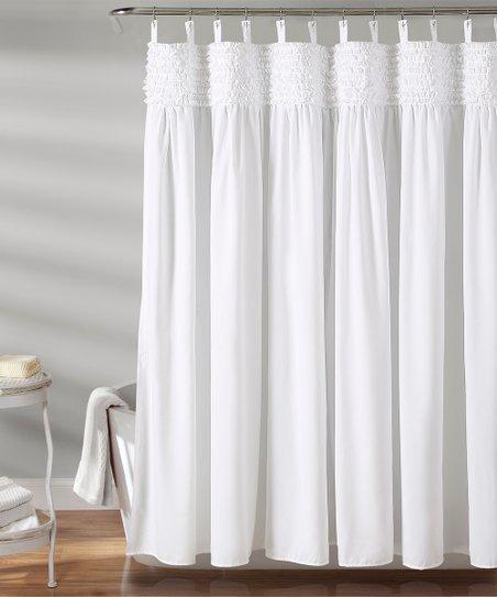 White Lydia Ruffle Shower Curtain Zulily