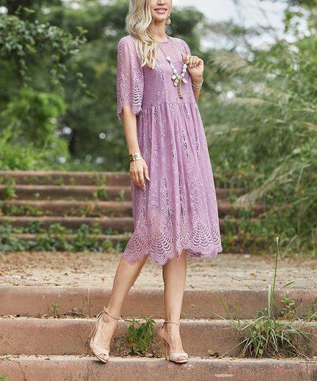 0e436e07f5e Suzanne Betro Dresses Purple Haze Lace Shift Dress - Women & Plus