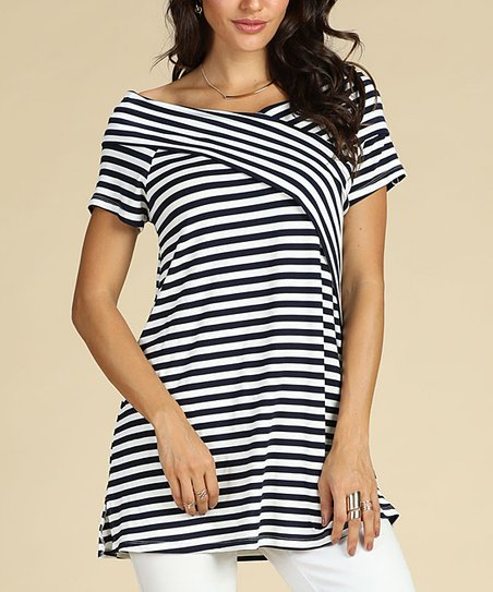 eee92a6d3a2 Suzanne Betro Weekend Navy Stripe Crisscross Tunic - Women   Plus ...