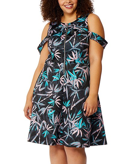 5f5f982e70a6a9 Back to Rebel Wilson x Angels  Plus Back. Ends in 2 days 14 hours. 13  viewing. Black Palm Leaf Cold Shoulder Fit   Flare Dress - Plus