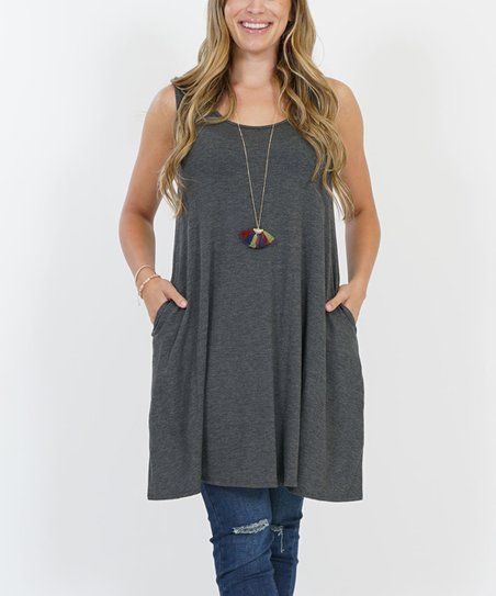 f72a4c939554b love this product Charcoal Side-Pocket Sleeveless Dress - Plus