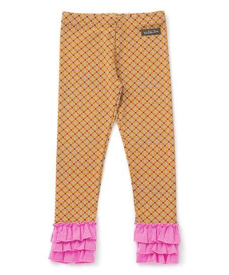 be9bfde1456ba Matilda Jane Clothing Orange & Pink Pretend Today Leggings - Girls ...
