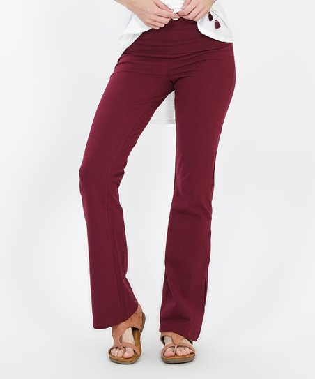b04638a6e3 love this product Dark Burgundy Fold-Over Yoga Pants - Women