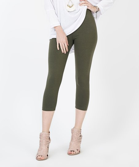 29838ac91a83df love this product Army Green Capri Leggings - Plus