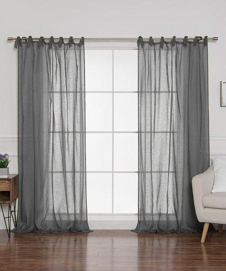 Best Home Fashion Dark Grey Sheer Romantic Tie Top Curtain Panel