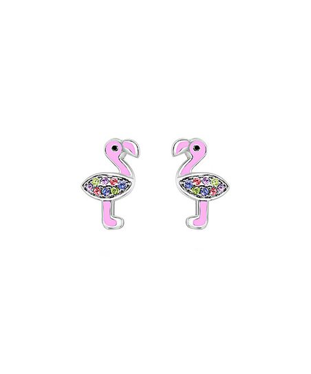 Sterling Silver Flamingo Stud Earrings With Swarovski Crystals