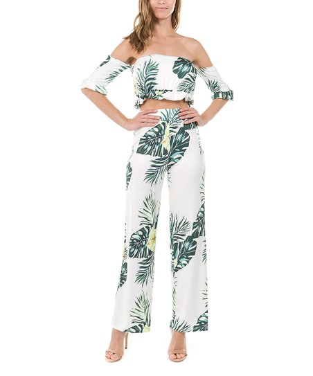 bcb1d08a9b1c2 love this product Green   White Tropical Foliage Off-Shoulder Top    Flare-Leg Pants - Women