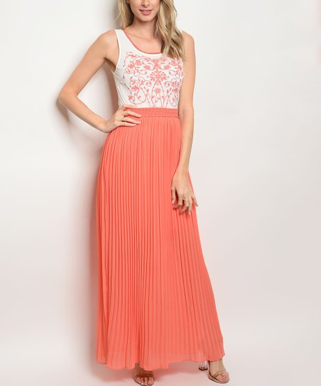 4a5a2bb9f9c8 love this product White & Coral Scroll Floral Open-Back Maxi Dress - Women