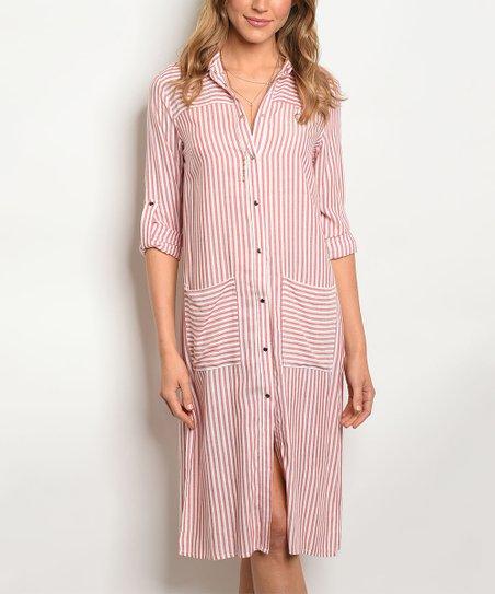 b74c4003b2f love this product Red   White Stripe Shirt Dress - Women