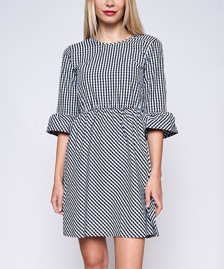 efb4f1fa8e0 love this product Black   White Gingham Tie-Back A-Line Dress - Women