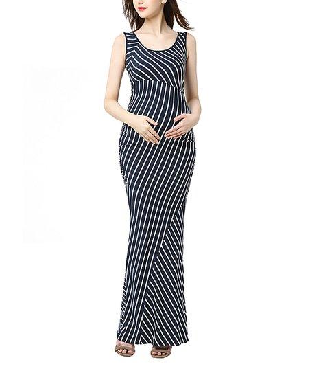 dd27f23465 Kimi + Kai Maternity Navy   Ivory Stripe Peyton Maternity Maxi Dress ...