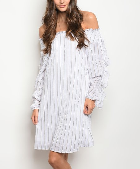 fd1f020da2a4 love this product White   Brown Stripe Ruffle-Sleeve Off-Shoulder Dress