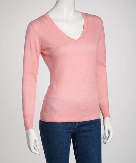 d0573de22 Light Pink V-Neck Sweater