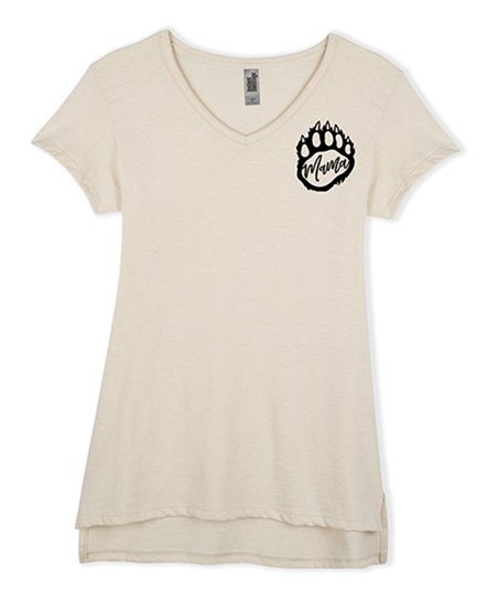 d56a353b7cd Instant Message Womens Heather Oatmeal Mama Bear Paw Print V-Neck ...
