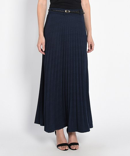 d1f74805af90 Yumi London Navy Pleated Maxi Skirt - Women | Zulily
