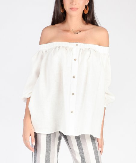 aa66e9f9af675 love this product White Button-Front Linen Off-Shoulder Top - Women