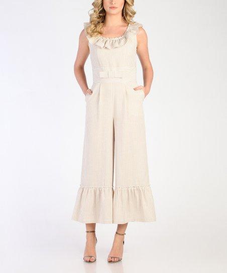 5edbe80c2b6 love this product Beige   White Stripe Ruffle Linen-Blend Jumpsuit - Women