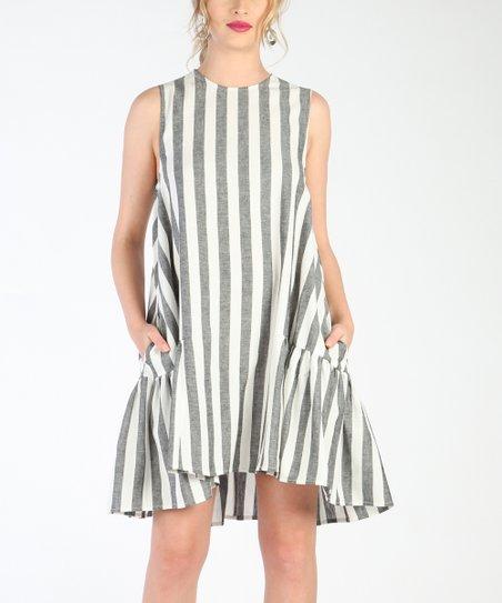 439034ffc00 love this product Black   White Stripe Linen-Blend Sleeveless Dress - Women