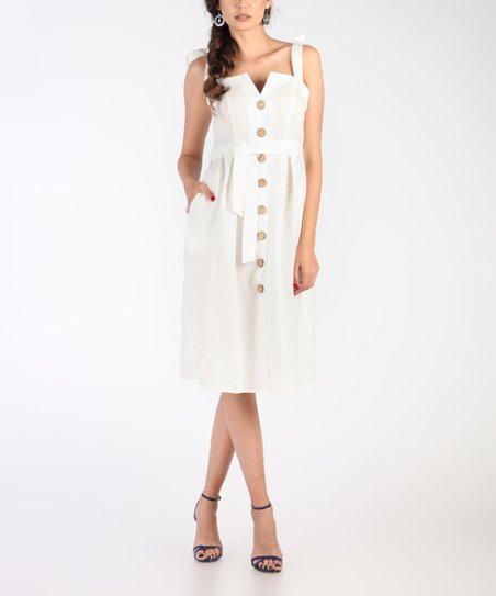 4e27d4bb99 Carla by Rozarancio White Button-Front Linen Shirt Dress - Women ...